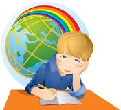 Funny school boy doing homework isolated. vector illustration