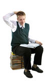 The schoolboy sits on a pack of books Royalty Free Stock Photos