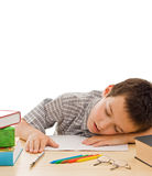 Schoolboy sleeping Stock Images