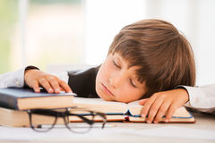 Schoolboy sleeping. Stock Image