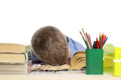 Schoolboy sleeps on the books for doing homework. Close-up. Isolated on a white background royalty free stock images