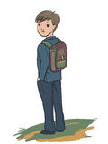Schoolboy standing. Student standing with a backpack, illustration Royalty Free Stock Photos