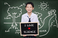 Schoolboy standing in front of chalkboard Stock Photography