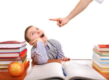 Schoolboy and strict parent Royalty Free Stock Photography