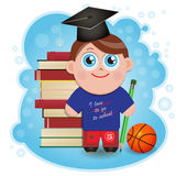 Schoolboy. Student stands behind books and basketball Royalty Free Stock Photography