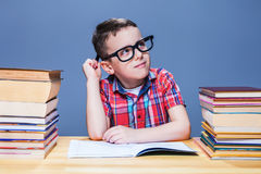 Schoolboy study at school, homework learning Stock Images