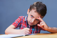 Schoolboy study at school, homework learning Royalty Free Stock Photos