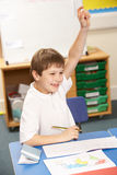 Schoolboy Studying In Classroom Royalty Free Stock Images