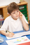 Schoolboy Studying In Classroom Stock Photography