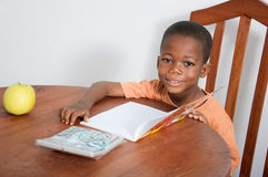 Schoolboy studying in the evening at home. This child is very happy to study in the  evening at home Royalty Free Stock Photos