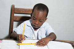 Schoolboy studying at home. Royalty Free Stock Photos