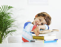 Schoolboy studying in home. Royalty Free Stock Photos