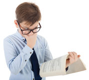 Schoolboy Surprised With Book Stock Image
