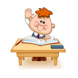 Schoolboy at the table. Back to school. Cute schoolchild at the table raises his hand to answer a lesson. Vector illustration Stock Photo