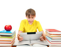 Schoolboy with Tablet Computer Royalty Free Stock Photos