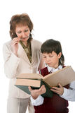 Schoolboy and teacher Royalty Free Stock Photos