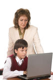Schoolboy and teacher Stock Photos