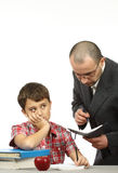 Schoolboy and teacher Stock Image