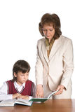 Schoolboy and teacher Royalty Free Stock Photo