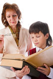 Schoolboy and teacher Royalty Free Stock Image