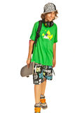 Schoolboy teen with skateboard Stock Photos