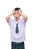 Schoolboy in uniform screaming Royalty Free Stock Photos