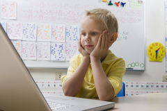Schoolboy Using A Laptop Stock Images