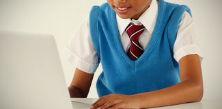 Schoolboy using laptop royalty free stock photography