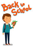 Schoolboy vector. Happy schoolboy with backpack holding bouquet of flowers for his teacher. Flat cartoon illustration. Schoolboy and Back to school text vector Royalty Free Stock Photos