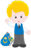 Schoolboy. Vector illustration of a little gymnasium student smiling, standing with his schoolbag and waving in greeting Royalty Free Stock Image