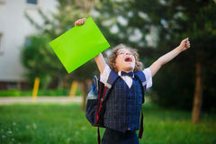 The schoolboy very angry Stock Images