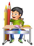 Schoolboy w pencils and banana. Children desk illustration  kids school sitting learning boys students schoolchildren class graphic study cartoon n Stock Images