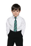 Schoolboy on the white background Stock Image