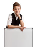 Schoolboy with whiteboard Stock Photo