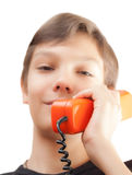 Schoolboy whith phones. Royalty Free Stock Photo