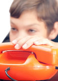 Schoolboy whith phones. Stock Image
