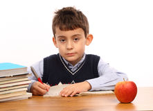 Schoolboy write Stock Photos
