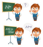 Schoolboy writing on the chalkboard. Back to school. Schoolboy writing on the chalkboard. Boy solves equations on blackboard. Funny cartoon character. Vector Stock Photo