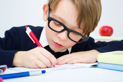 Schoolboy writing homework Royalty Free Stock Images
