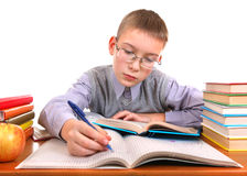 Schoolboy writing Stock Image