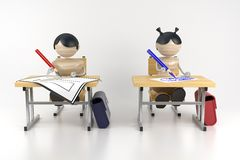 Schoolboys. Are in a class. Drawing lesson. 3d model Stock Images