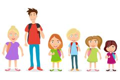 Schoolboys with backpacks. Children on a white background. vector illustration