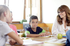 Schoolboys and girls are smiling Stock Photos