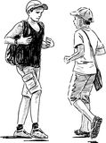 Schoolboys on a stroll Royalty Free Stock Images