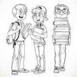 Schoolboys with textbooks and backpacks talk Stock Image