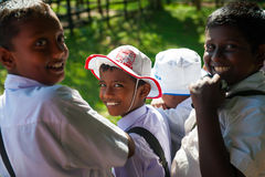 Schoolboys visit elephant feeding farm Royalty Free Stock Photo