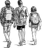 Schoolboys on a walk Royalty Free Stock Photos