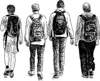 Schoolboys walking Royalty Free Stock Photo