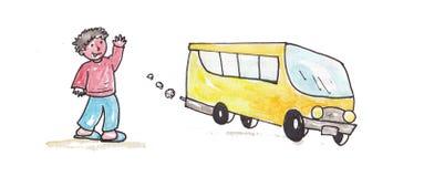 Schoolbus с мальчиком Стоковая Фотография