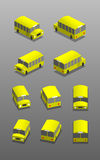 Schoolbus. In different positions, yellow bus Royalty Free Stock Images